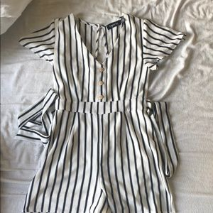Black and white stripped romper